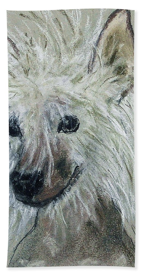 Chinese Crested Bath Towel featuring the drawing Crested Star by Cori Solomon