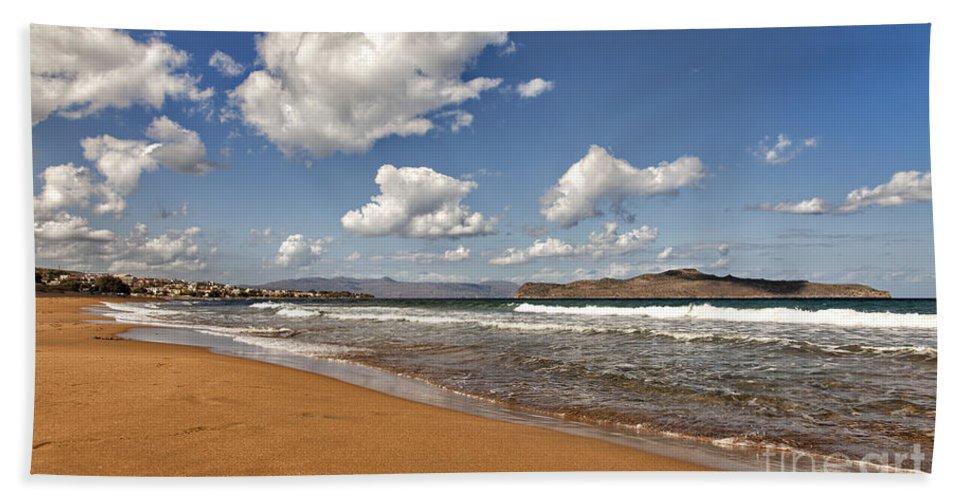 Beach Hand Towel featuring the photograph Cretan Beach by Sophie McAulay