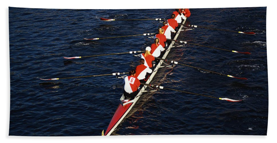 Photography Bath Towel featuring the photograph Crew Boat At Head Of Charles Regatta by Panoramic Images