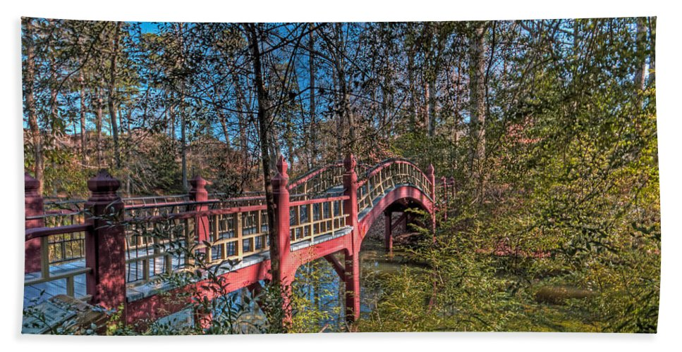 Bridge Bath Sheet featuring the photograph Crim Dell Bridge Spring by Jerry Gammon