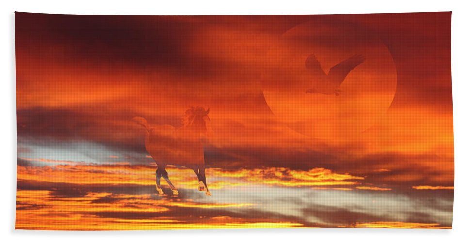 Eagle Hand Towel featuring the photograph Crimson Fever by Andrea Lawrence