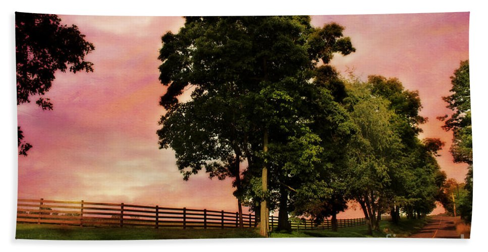 Fence Hand Towel featuring the photograph Crimson Sky by Beth Ferris Sale