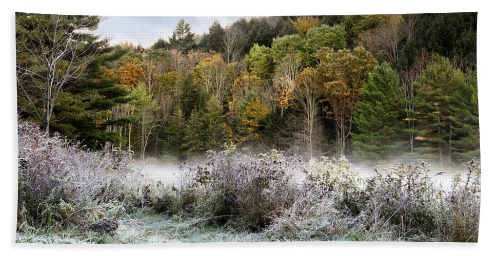 Fall Foliage Bath Sheet featuring the photograph Crisp Morning Frost Hillside Landscape by Christina Rollo