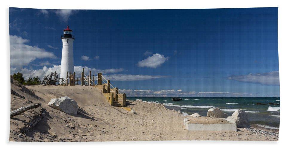 Crisp Bath Sheet featuring the photograph Crisp Point Lighthouse 17 by John Brueske