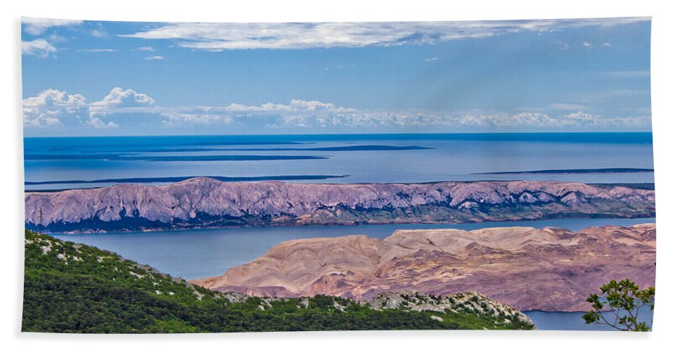 Pag Hand Towel featuring the photograph Croatian Islands Aerial View From Velebit by Brch Photography