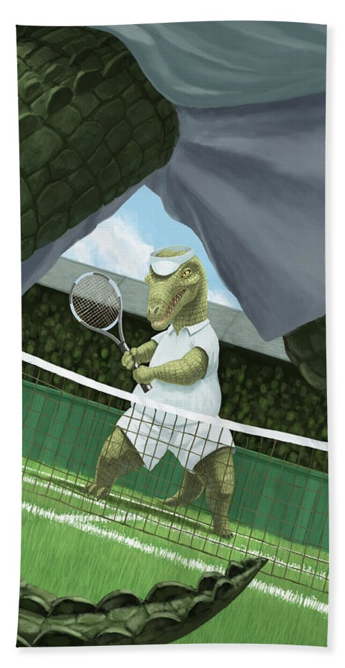 Crocodiles Hand Towel featuring the painting Crocodiles Playing Tennis At Wimbledon by Martin Davey