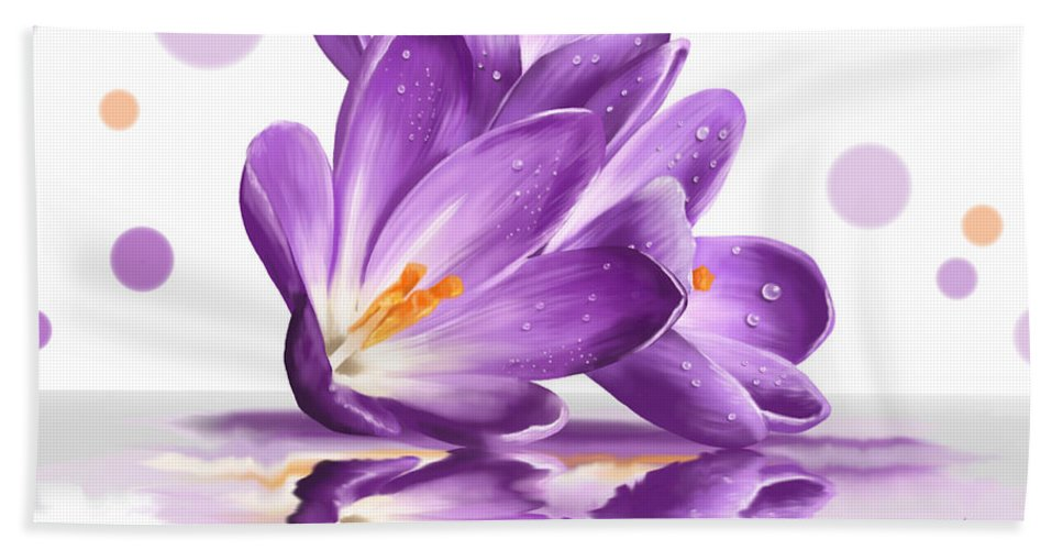 Flowers Bath Sheet featuring the painting Crocus by Veronica Minozzi