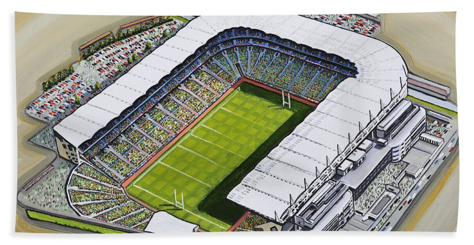 Art Bath Sheet featuring the painting Croke Park by D J Rogers