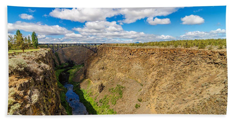 Bridge Hand Towel featuring the photograph Crooked River Canyon And Bridge by Jess Kraft