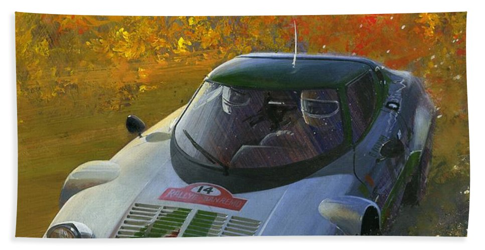 Bath Sheet featuring the painting Cropped Stratos Rallye Magazine Cover Art by Toby Nippel