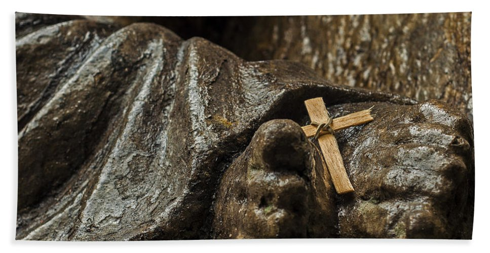 Religion Bath Sheet featuring the photograph Cross And Feet by Jess Kraft