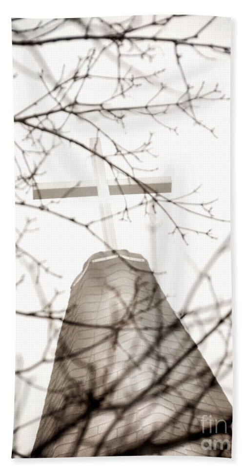 White Cross Hand Towel featuring the photograph Cross by Angie Rea