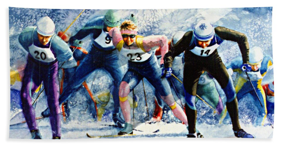 X-country Skiing Bath Sheet featuring the painting Cross-country Challenge by Hanne Lore Koehler