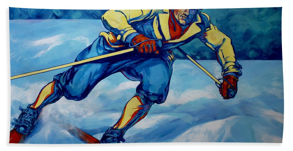 Blue Bath Sheet featuring the painting Cross Country Skier by Derrick Higgins