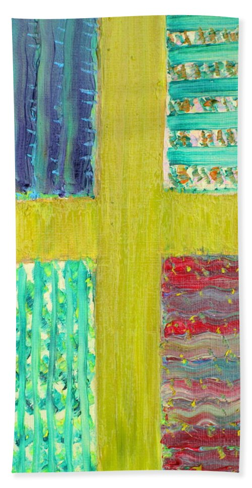 Cross Hand Towel featuring the painting Cross -vegetable- Garden by Fabrizio Cassetta