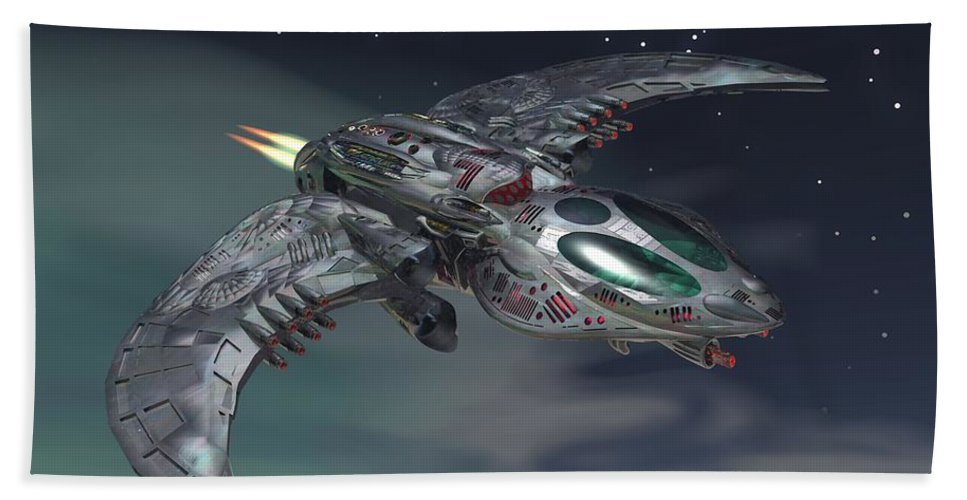 Digital Art Hand Towel featuring the digital art Cross Wing by Michael Wimer