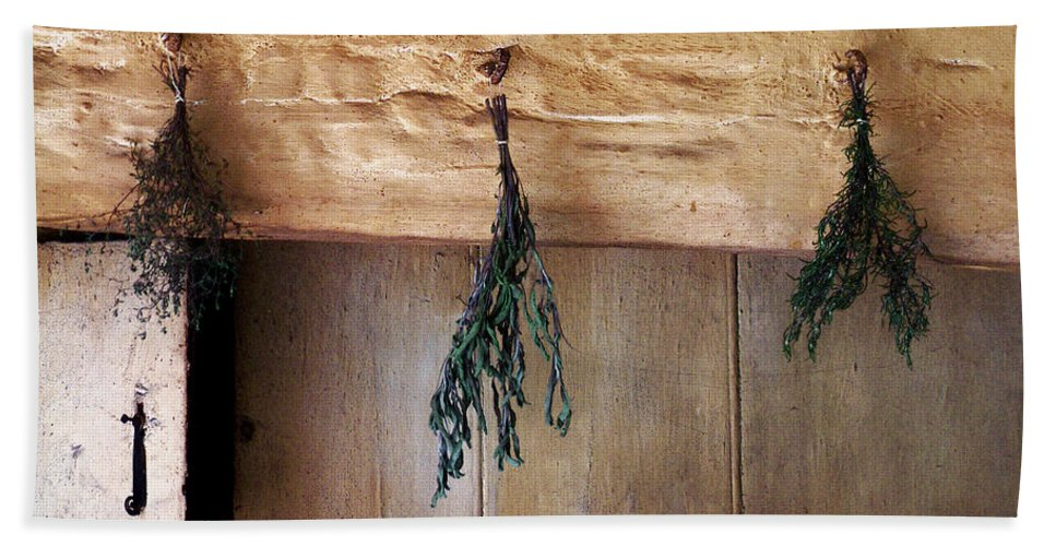 Herbs Bath Sheet featuring the painting Crossbeam With Herbs Drying by RC DeWinter
