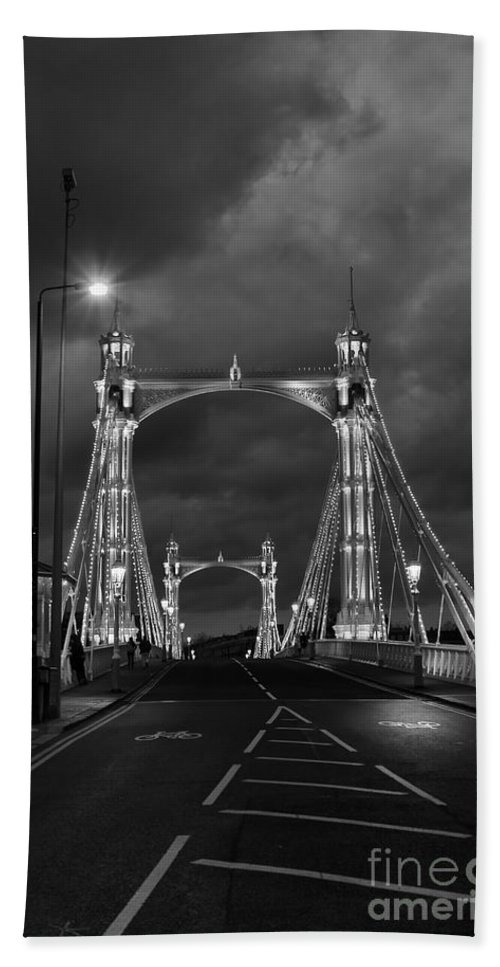 Albert Bridge Hand Towel featuring the photograph Crossing by Jasna Buncic