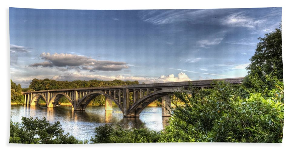 Bridge Bath Sheet featuring the photograph Crossing Tillery by Jackie Frick Smith
