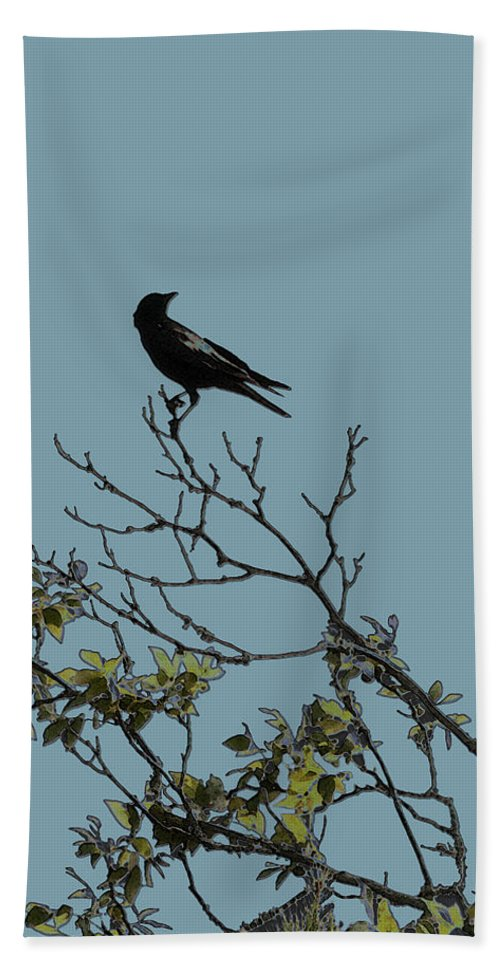 Crow Bath Towel featuring the photograph Trickster Watch by Dora Hembree
