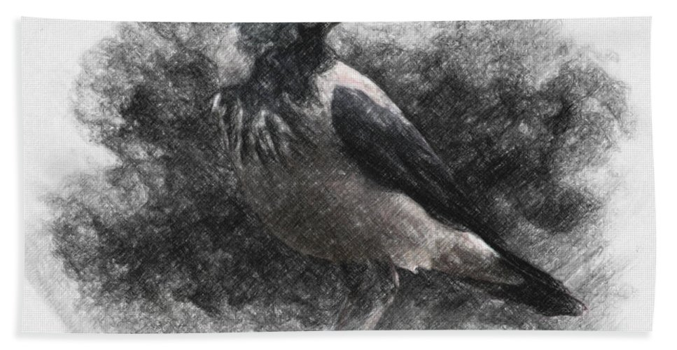 Raven Bath Towel featuring the drawing Crow by Zapista Zapista