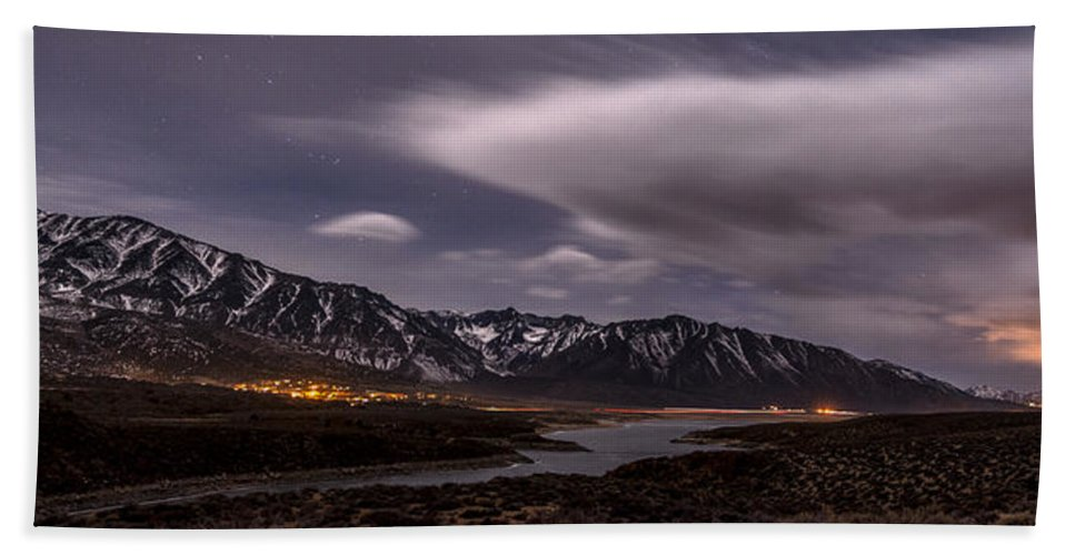 California Hand Towel featuring the photograph Crowley Lake At Night by Cat Connor