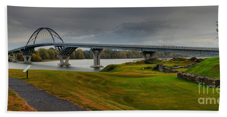 Crown Point New York Bath Sheet featuring the photograph Crown Point Lake Champlain Panorama by Adam Jewell