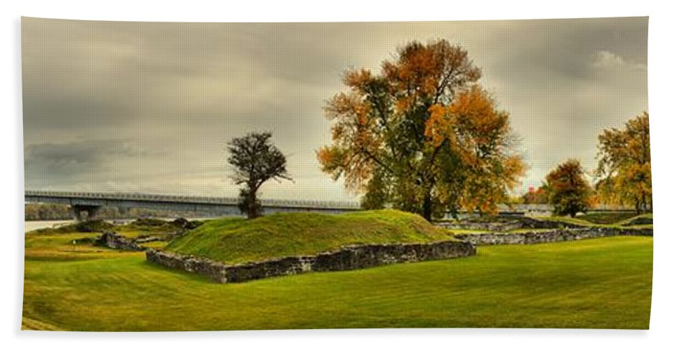 Crown Point New York Bath Sheet featuring the photograph Crown Point Panorama Of The New Lake Champlain Bridge by Adam Jewell
