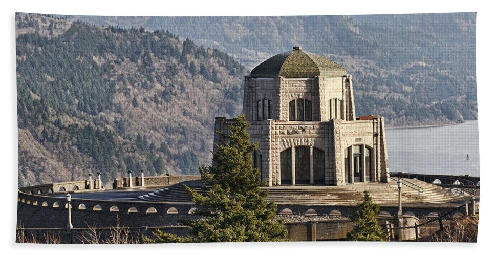 Vista House Hand Towel featuring the photograph Crown Point by Wes and Dotty Weber