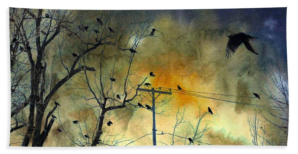 Crows Gathering Hand Towel featuring the mixed media Crows Colors by Gothicrow Images