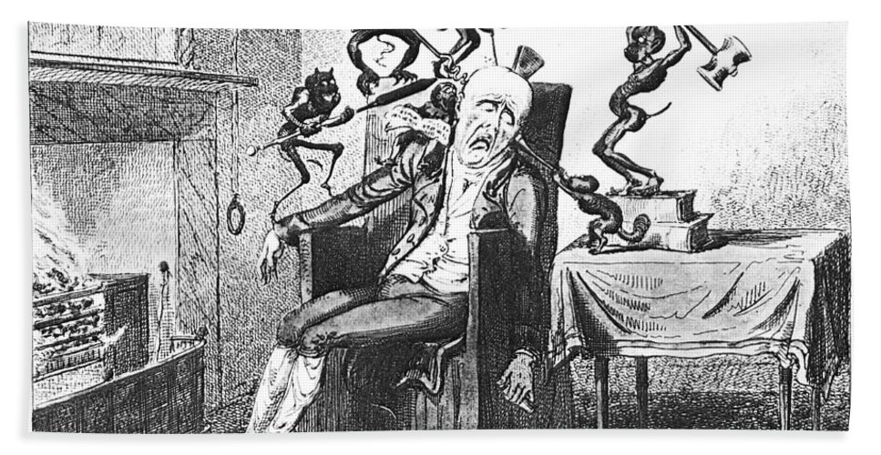 1819 Bath Sheet featuring the photograph Cruikshank: Headache, 1819 by Granger