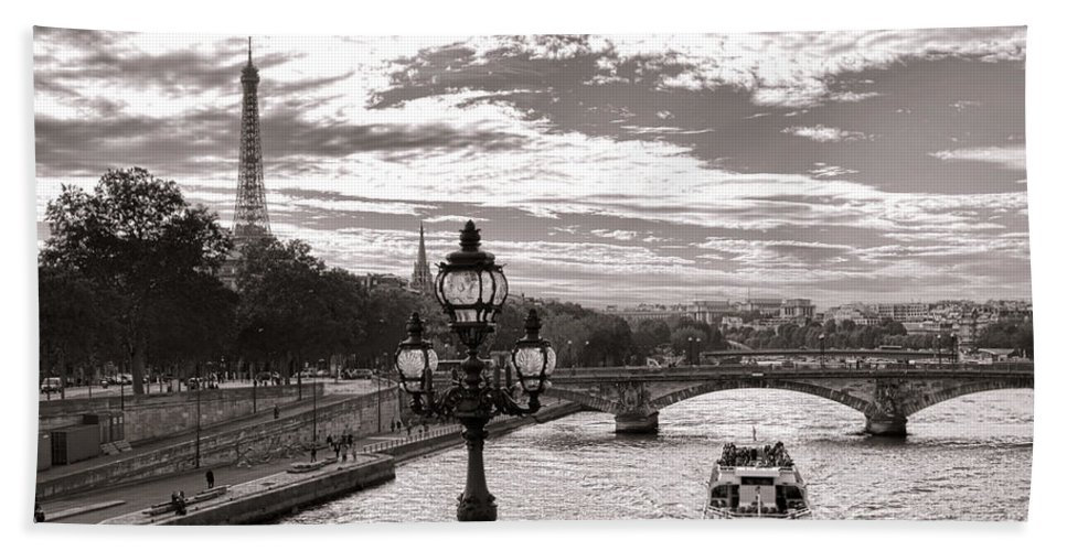 France Hand Towel featuring the photograph Cruise On The Seine by Olivier Le Queinec