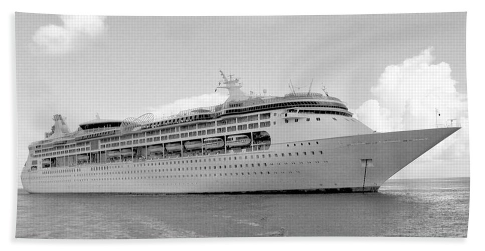 Anchor Hand Towel featuring the photograph Cruise Ship Bw by Scenic Sights By Tara