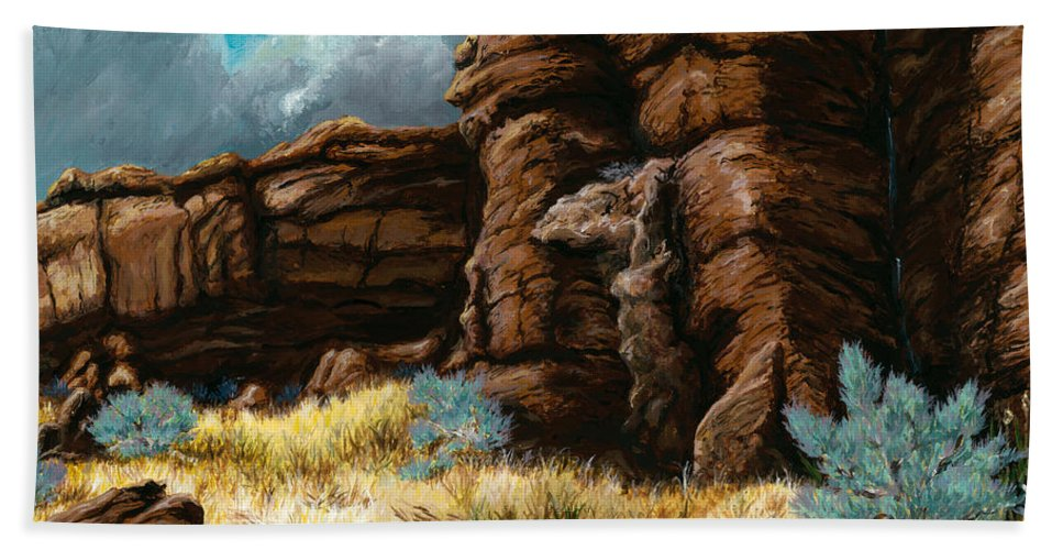 Landscape Hand Towel featuring the painting Crumbling Cliffs At Harney Or by Carlene Salazar