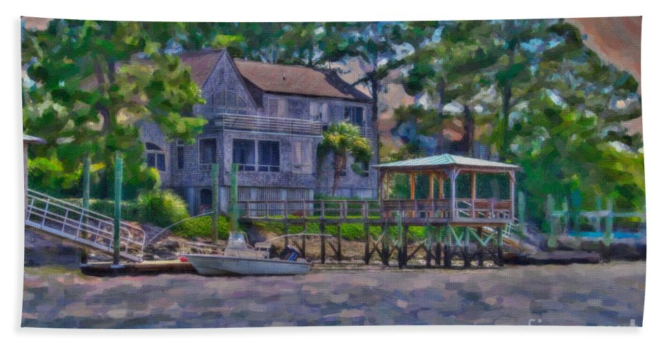 Sullivan's Island Hand Towel featuring the digital art Crusing The Icw At Sullivan's Island Sc by Dale Powell