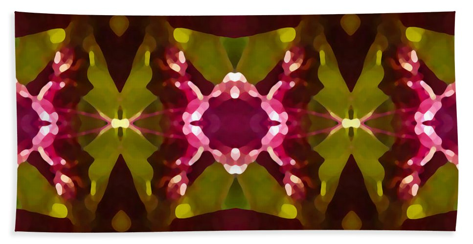 Abstract Hand Towel featuring the painting Crystal Butterfly Pattern by Amy Vangsgard