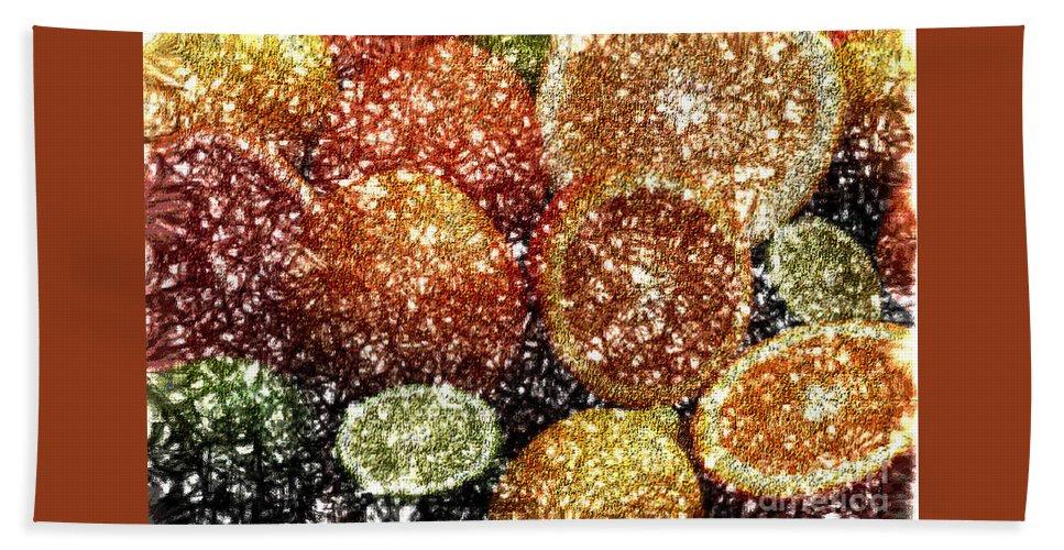Grapefruit Abstract Bath Towel featuring the digital art Crystal Grapefruit by Yael VanGruber