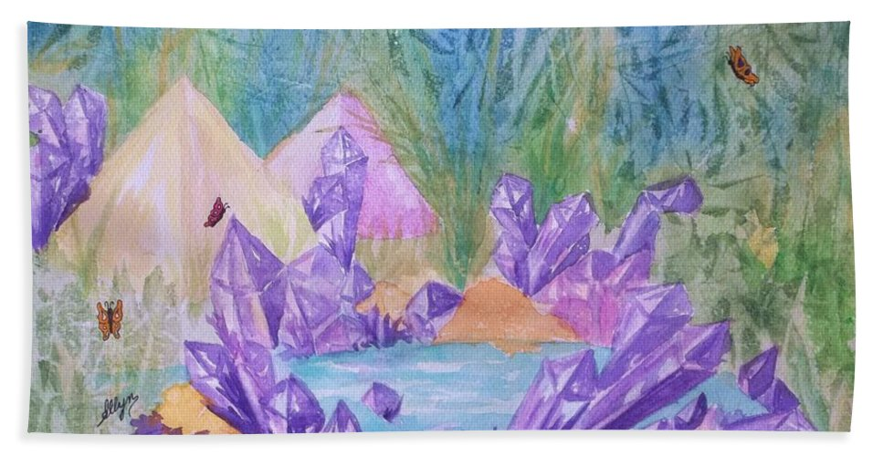Lake Bath Sheet featuring the painting Crystal Lake by Ellen Levinson