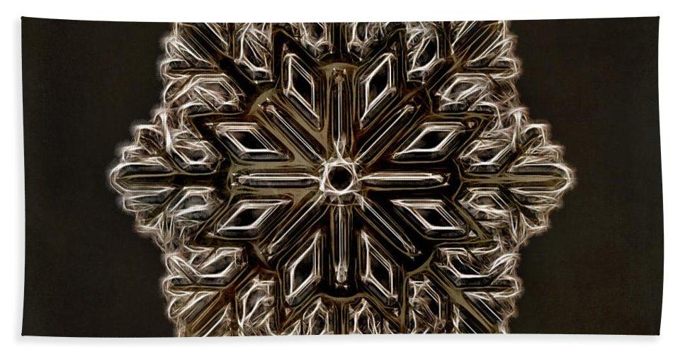 Snowflake Bath Sheet featuring the digital art Crystal Snowflake by Terry Fleckney