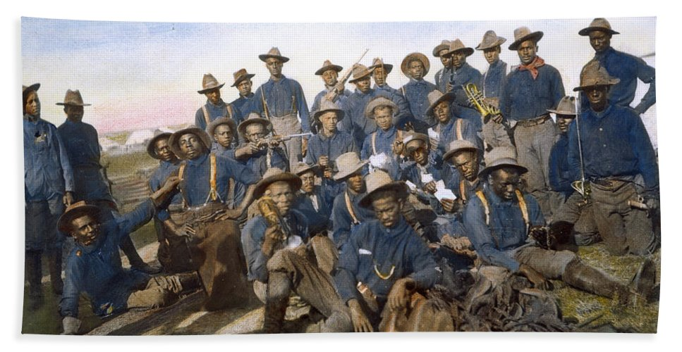 10th Cavalry Hand Towel featuring the photograph Cuba - Tenth Cavalry 1898 by Granger