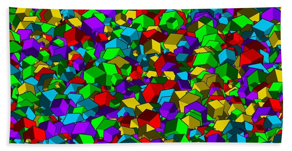 Abstract Bath Sheet featuring the digital art Cubes... by Tim Fillingim