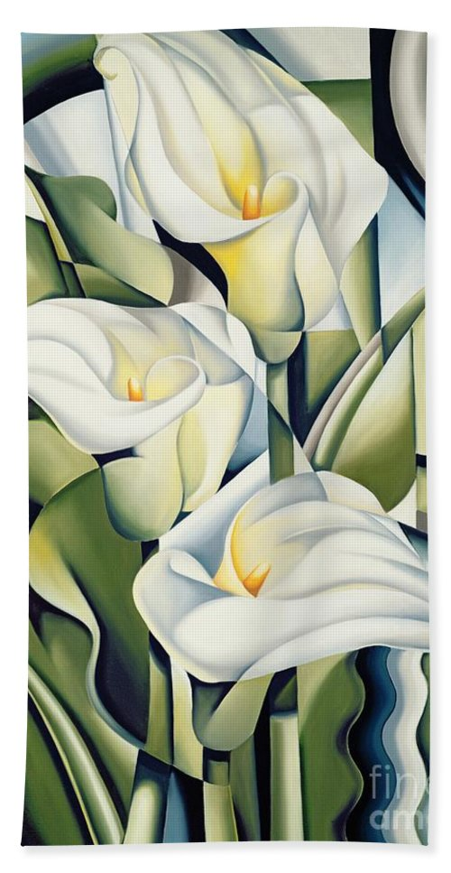 Cubist Bath Towel featuring the painting Cubist lilies by Catherine Abel