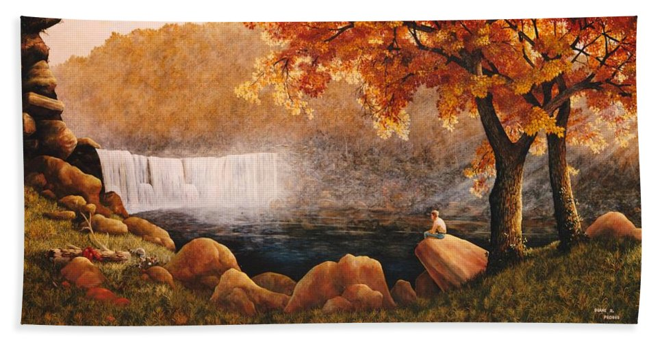 Waterfall Hand Towel featuring the painting Cumberland Falls by Duane R Probus