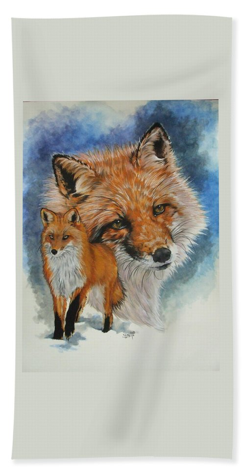 Fox Bath Sheet featuring the mixed media Cunning by Barbara Keith