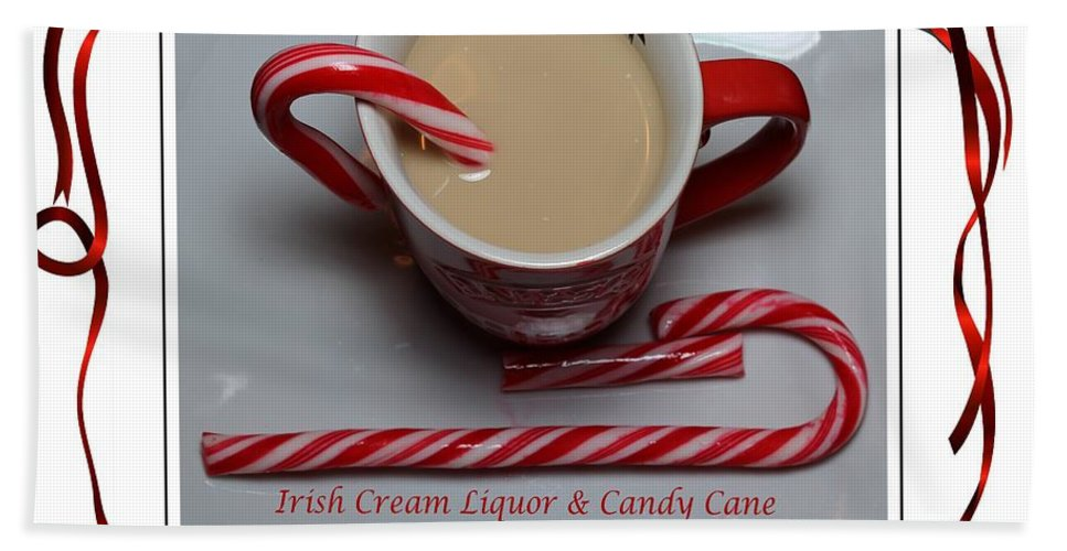 Cup Of Christmas Cheer Bath Sheet featuring the photograph Cup Of Christmas Cheer - Candy Cane - Candy - Irish Cream Liquor by Barbara Griffin