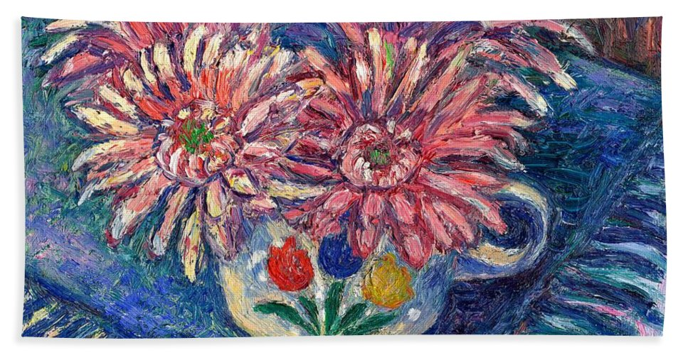 Kendall Kessler Hand Towel featuring the painting Cup Of Flowers by Kendall Kessler