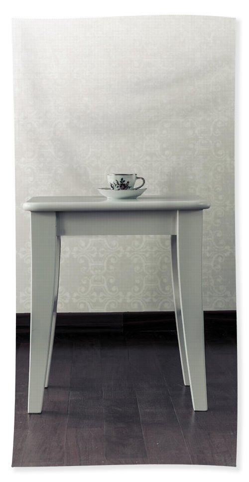 Cup Hand Towel featuring the photograph Cup On Stool by Joana Kruse
