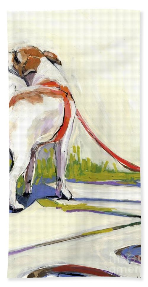 Dog Hand Towel featuring the painting Curbside by Molly Poole