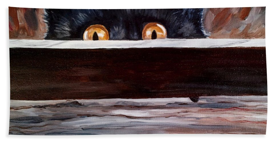 Cats Bath Sheet featuring the painting Curiosity by Julie Brugh Riffey