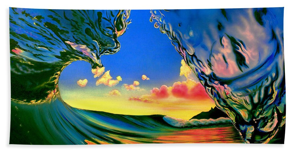 Waves Bath Sheet featuring the painting Curtain Call by Marty Calabrese